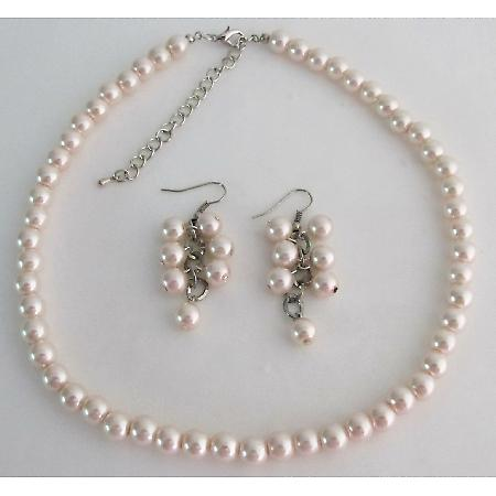 Light Pink Pearl Necklace and Earring Cluster Bridesmaid Gift
