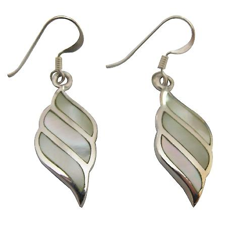Mother Of Pearl Lime Sterling Silver Earring Genuine 92.5 Stamped Earrings