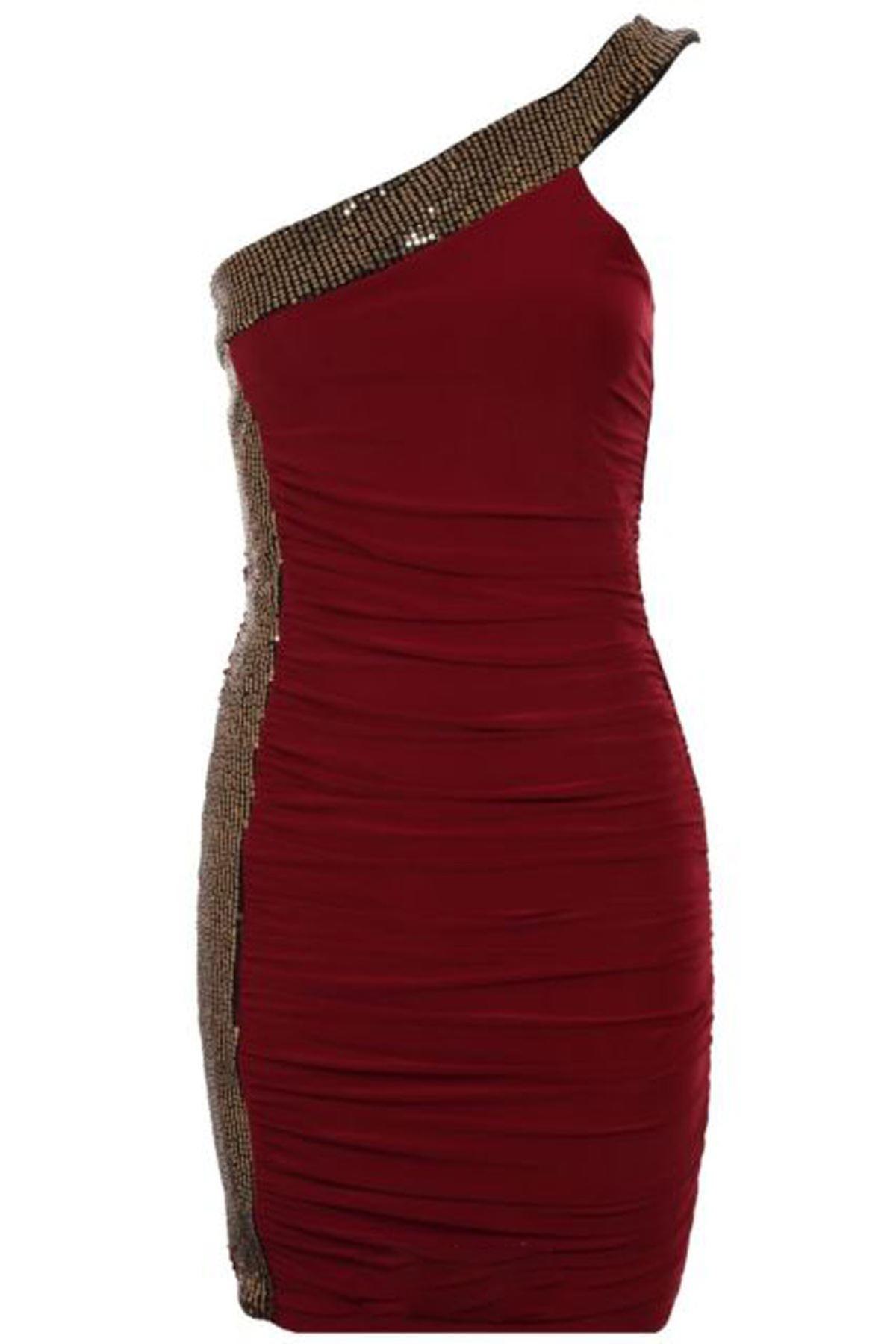 Ladies One Shoulder Side Sequin Tape Gathered Bodycon Short Party Women's Dress