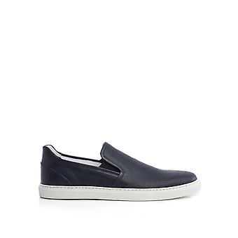 Corneliani Blue Leather Slip On Sneakers