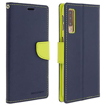 Etui Galaxy porte-A7 2018 Folio Case cartes soutien fonction Mercury - bleu