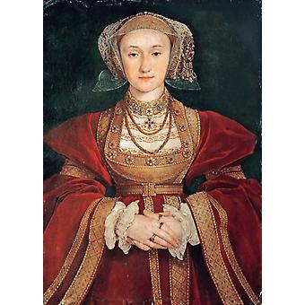 Portrait of Anne of Clevers,Hans holbein the younger,65x48cm