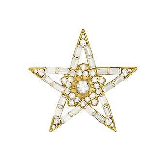 Eternal Collection Lucky Star Clear Austrian Crystal Gold Tone Brooch
