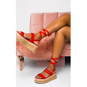 IKRUSH Womens Zara Faux Wildleder Schnürschuh Flatform Sandale