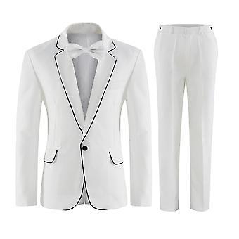 Allthemen mens past 2 stuk slim fit Suit Classic 1 knop Business bruiloft diner kostuums blazer & broek