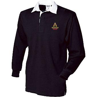 Royal Artillery Gunner-gelicentieerd Britse leger geborduurd lange mouw rugby shirt