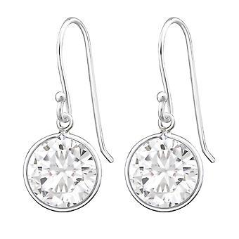 Round - 925 Sterling Silver Cubic Zirconia Earrings - W659X