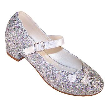 Girls silver sparkly heeled party shoes