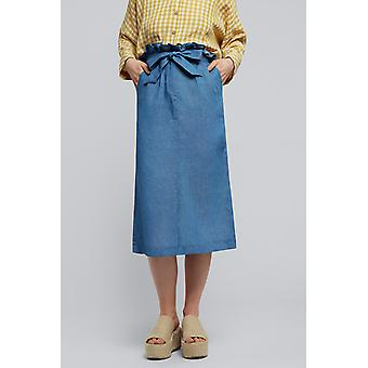 Louche Prescilla Chambray Paper Bag Skirt Chambray