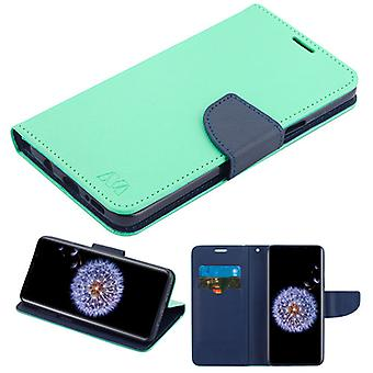 MYBAT Teal Green Pattern/Dark Blue Liner MyJacket wallet (w/ card slot)(84B) for Galaxy S9 Plus