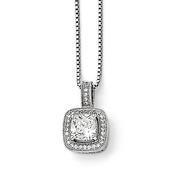 925 Sterling Silver Pave Spring Ring Rhodium-plated and Cubic Zirconia Brilliant Embers Necklace - 18 Inch