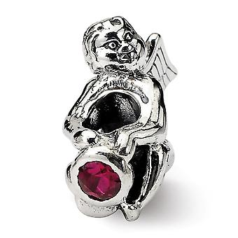925 Sterling Silver Polished Antique finish Reflections July Cubic Zirconia Antiqued Bead Charm