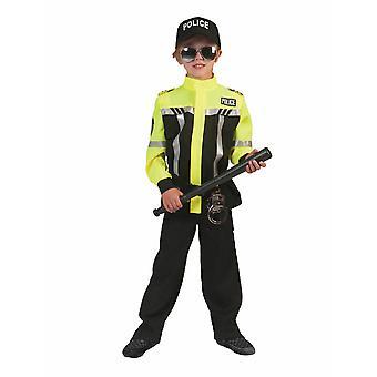 Poliziotto Bambini Costume Ragazzi Polizia Polizia Ragazzi Uniforme Giallo Nero Carnevale