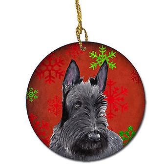 Scottish Terrier Red Snowflakes Holiday Christmas Ceramic Ornament SC9426
