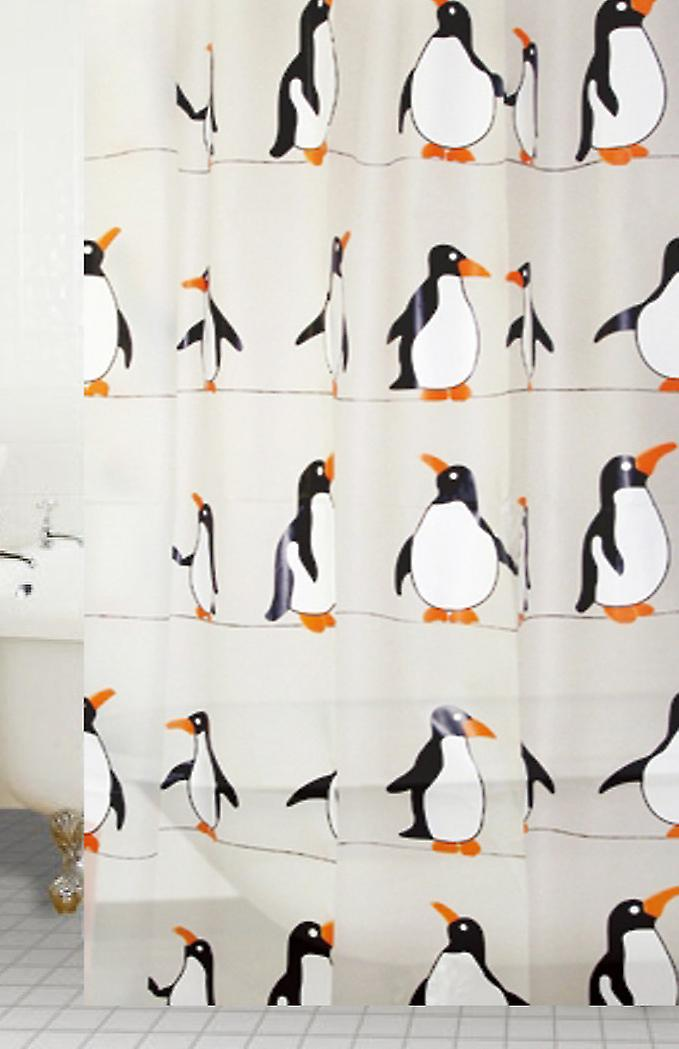 Penguin Designer Peva Shower Curtain 180 X 180cm