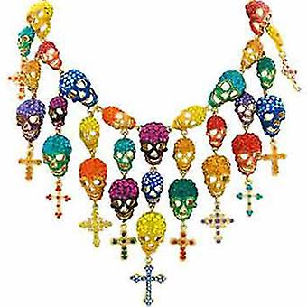Butler & Wilson Multi Crystal Skulls and Crosses Cascade Necklace