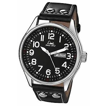 Limit Mens Black Leather Strap Round Black Dial 5491 Watch