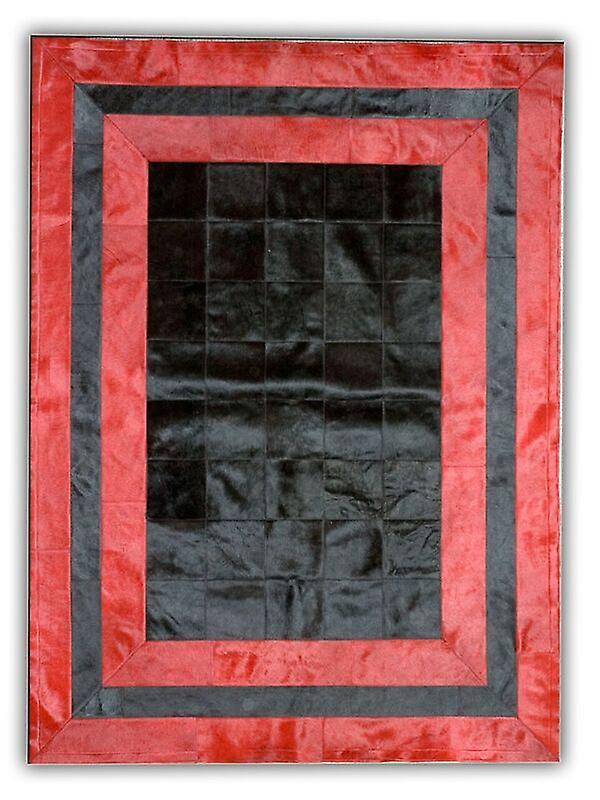 Rugs -Patchwork cuir Cubed Cowhide - SR2 noir & rouge