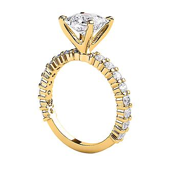 2.3 Carat G SI2 Diamond Engagement Ring 14K Yellow Gold Solitaire w Accents 4 Prongs Princess