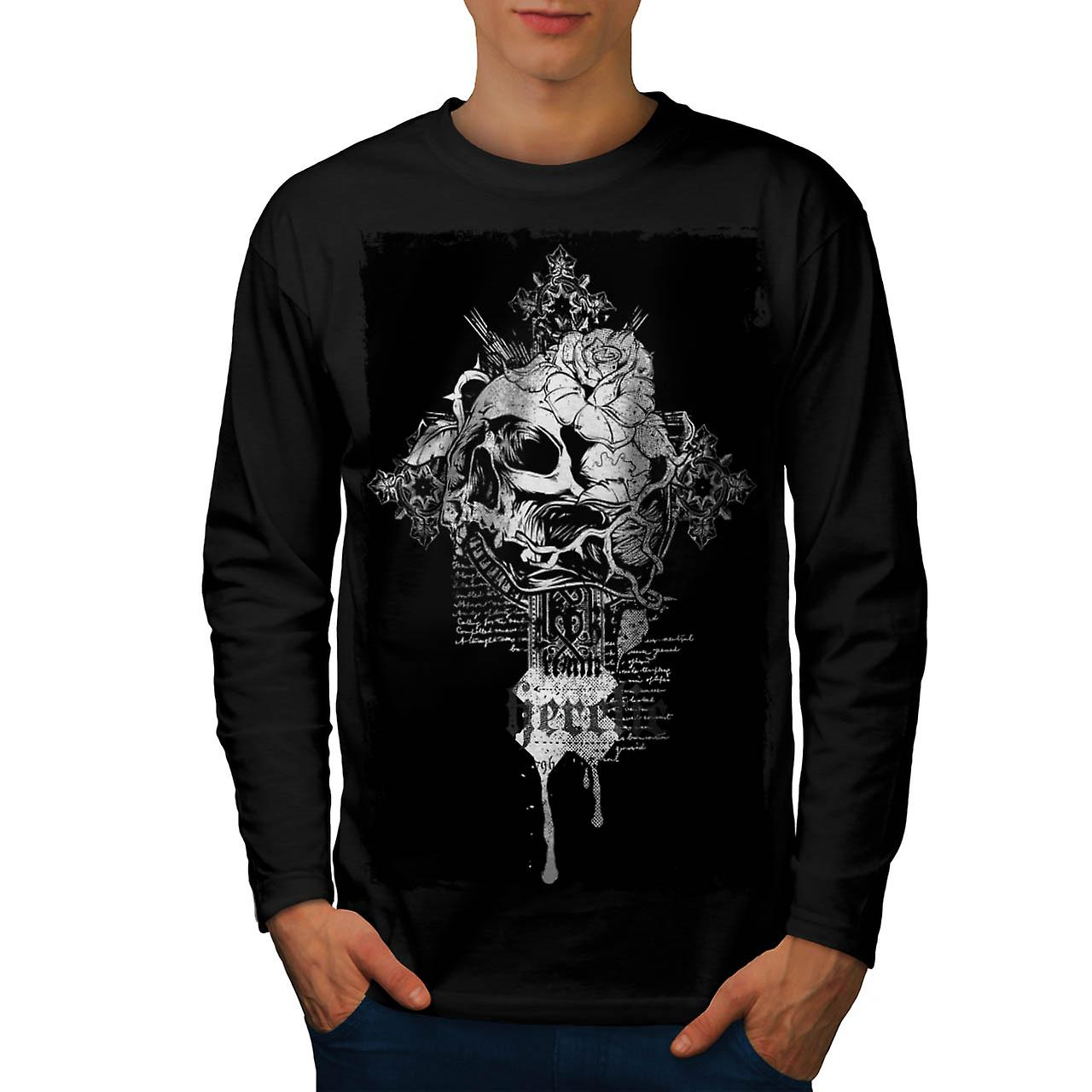 Heretic Monster Skull Grave Yard Men Black Long Sleeve T-shirt | Wellcoda