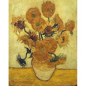 Vase mit fünfzehn Sonnenblumen 1889 Poster Print von Vincent Van Gogh