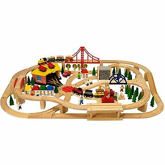 Bigjigs Wooden Railway Freight Train Set 130pc BJT017