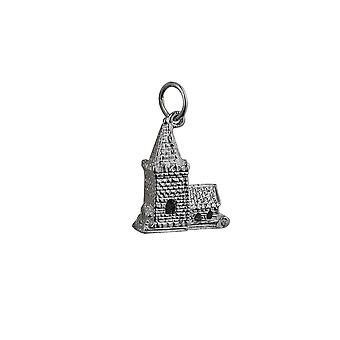 Silver 19x15mm moveable Charm a Church inside a tiny Bride and Groom