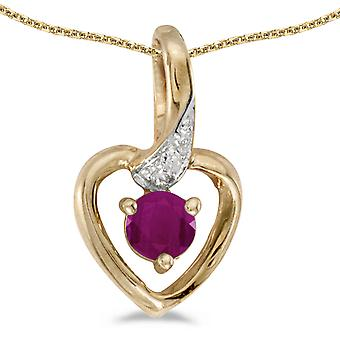 10k Yellow Gold Round Ruby And Diamond Heart Pendant with 18