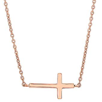 Sterling Silver Rose Finish Side Ways Cross Fashion Necklace, 18