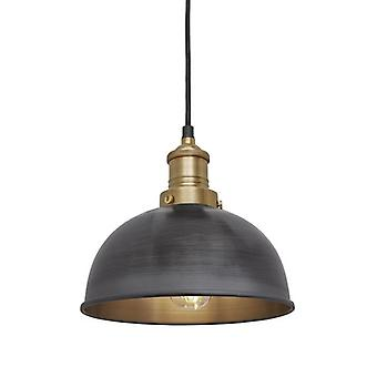 Brooklyn Vintage Small Metal Dome Pendant Light - Dark Pewter - 8