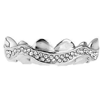 One Size Fits All Bling Grillz - SWING LINE TOP - Silber