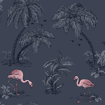 Flamingo Lake Wallpaper Palm Trees Tropical Birds Midnight Blue Pink Holden