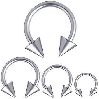 Circulaire Barbell Horseshoe Titanium Piercing 1,2 mm, Spikes | Diameter 6-12 mm