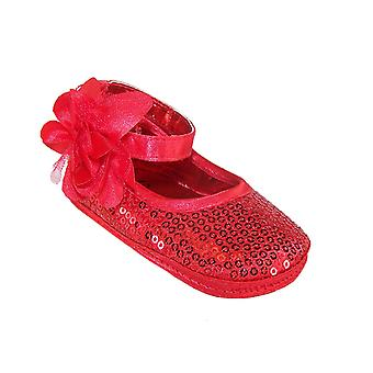 Baby girls red sequin soft sole shoes