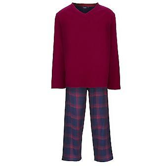 Chaussettes Uwear Mens Fleece Top Cotton Bottom Pyjamas Lounge Wear - Rouge - XX-Large