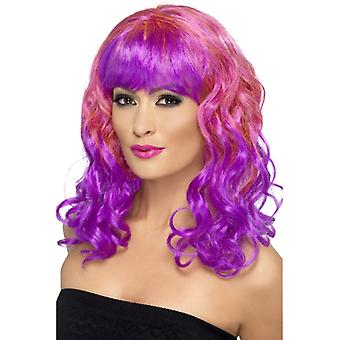 Divatastic wig curly pink and purple with purple pony