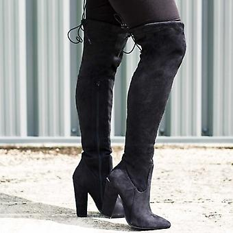 Spylovebuy OSCA Lace Up Stretch Block Heel Over Knee Tall Boots - Black Suede Style
