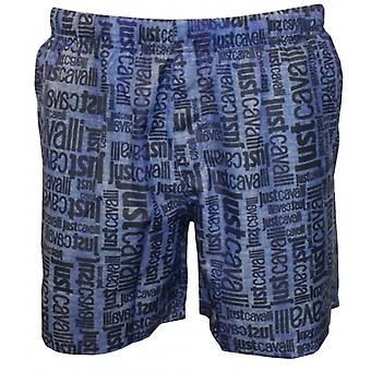 Just Cavalli Jeans-effect Faded All Over Logo Print Swim Shorts, Blue