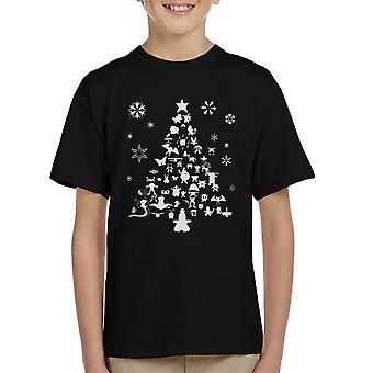 Pokemon juletræ silhuet hvid børne T-Shirt