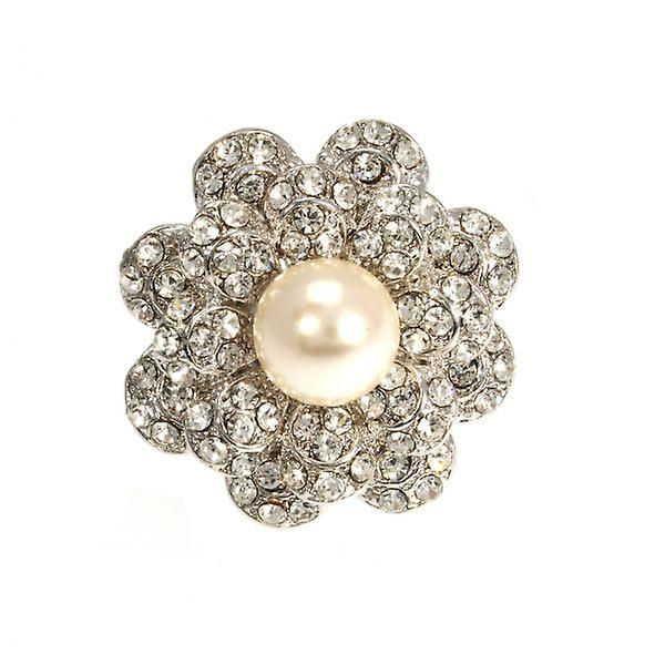 W.A.T Crystal And Pearl Flower Ring
