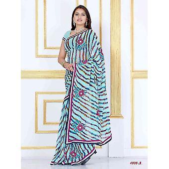 Alaknanda azul Georgette partido de desgaste del diseñador de Sari sari
