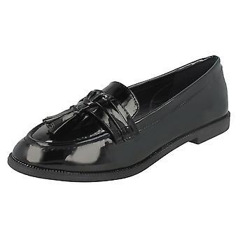 Ladies Spot On Tassel Trim Loafers F80298