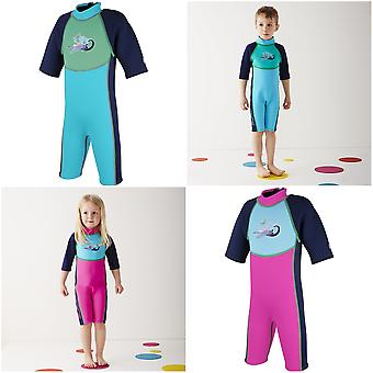 Splash About Kids Shortie Wetsuit Neoprene Ages 1-6 Years Blue or Pink Surf Designs