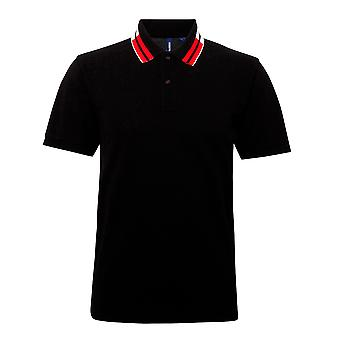 Asquith & Fox Mens Short Sleeve Two Colour Tipped Polo Shirt