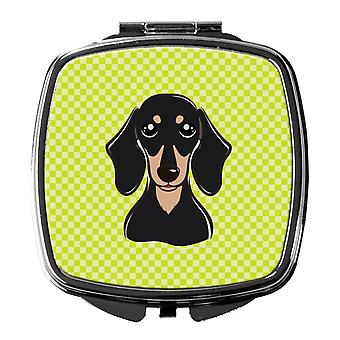 Checkerboard Lime Green Smooth Black and Tan Dachshund Compact Mirror