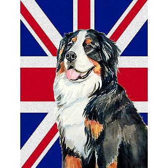 Bernese Mountain Dog with English Union Jack British Flag Flag Canvas House Size