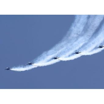 The Blue Angels performing a line abreast loop during an air show Poster Print by Stocktrek Images