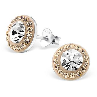Round - 925 Sterling Silver Crystal Ear Studs - W25103x