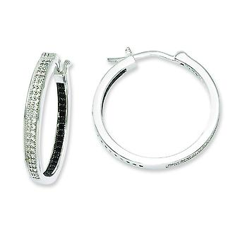 Sterling Silver Pave Black Rhodium-plated and Cubic Zirconia Brilliant Embers Hoop Earrings