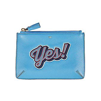 Anya Hindmarch 929837 ladies light blue leather clutch